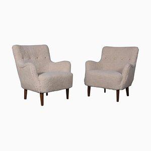 Dänische Sessel aus Lammwolle, 1940er, 2er Set