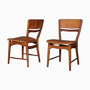 Beistellstühle aus Schilfrohr und Leder von Arne Wahl Iversen, 2er Set