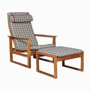 2254 Eichenholz Sled Sessel und Ottomane von Børge Mogensen für Fredericia, 1956, Denmark, 2er Set