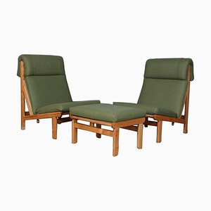 Danish Rag Easy Lounge Chairs in Pine and Fabric by Bernt Petersen, Set of 3