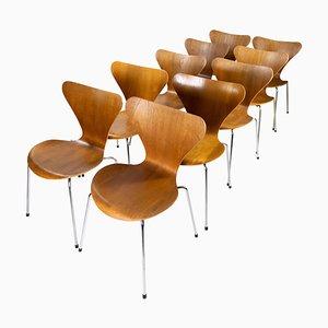 Modell 3107 Esszimmerstühle aus Teak von Arne Jacobsen für Fritz Hansen, 12er Set