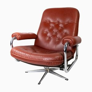 Danish Armchair with Red Leather and Frame of Metal, 1960s