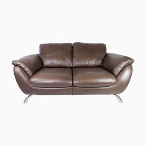 Brown Leather 2-Seater Sofa and Frame of Metal from Italsofa
