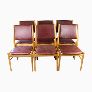 Dining Room Chairs of Oak and Bordeaux Leather, Set of 6