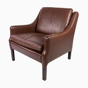 Danish Dark Brown Leather Easy Chair, 1960s