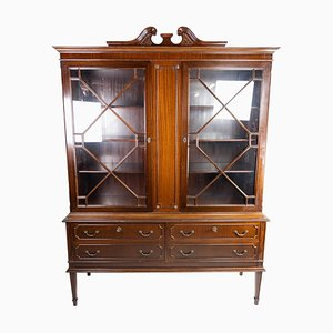 Hepplewhite Glass and Mahogany Cabinet with Brass Handles, 1930s
