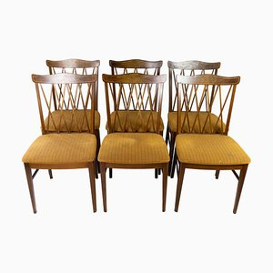 Dining Room Chairs in Walnut, 1940s, Set of 6