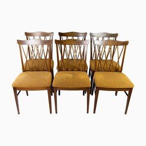 Esszimmerstühle aus Nussholz, 1940er, 6er Set