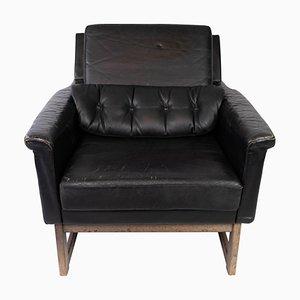 Black Leather Easy Chair by Illum Wikkelsø