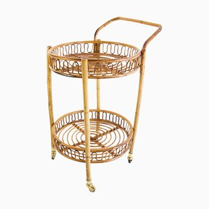 Bamboo and Rattan Round Italian Bar Cart, 1960s