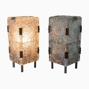 Glass Table Lamps by Kamenicky Senov, 1970s, Set of 2