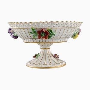 Compote de Dresde en Porcelaine Ajourée avec Fleurs Peintes à la Main
