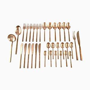 Scanline Brass Cutlery by Sigvard Bernadotte, Set of 34
