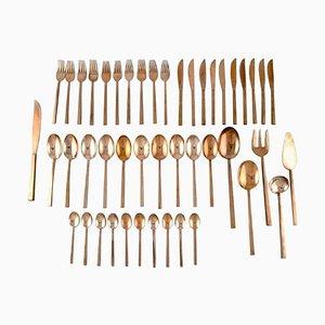 Scanline Brass Cutlery by Sigvard Bernadotte, Set of 46