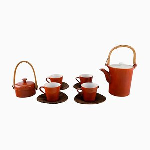 Porcelain Coffee Service for Four People by Kenji Fujita for Tackett Associates, Set of 10