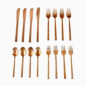 Scanline Brass Lunch Cutlery Complete for Four People by Sigvard Bernadotte, Set of 16
