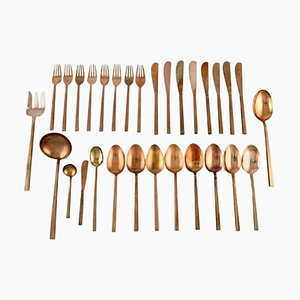 Scanline Brass Cutlery Dinner Service for Eight People by Sigvard Bernadotte, Set of 30