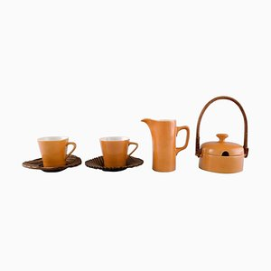 Porcelain Coffee Service for Two People by Kenji Fujita for Tackett Associates, Set of 10