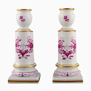 Antique Meissen Pink Indian Candlesticks in Hand-Painted Porcelain, Set of 2