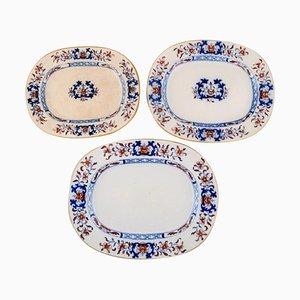 Piatti antichi in ceramica dipinta a mano di Mintons, Inghilterra, set di 3
