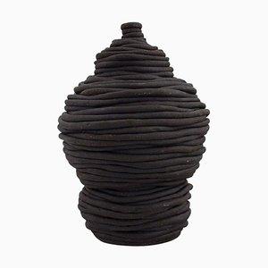 Vase in Black Glazed Ceramics from European Studio Ceramicist, Late 20th Century