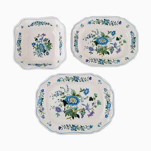 Bowl and Two Dishes in Hand-Painted Porcelain from Spode, England, 1960s, Set of 3