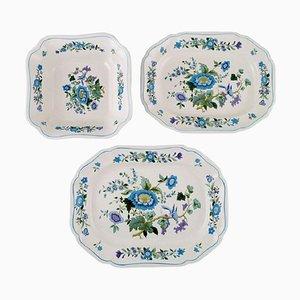 Schale und zwei Teller aus handbemaltem Porzellan von Spode, England, 1960er, 3er Set