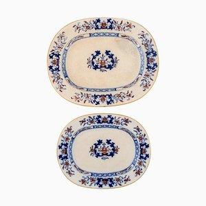 Antike Teller aus handbemaltem Fayence von Mintons, England, 2er Set