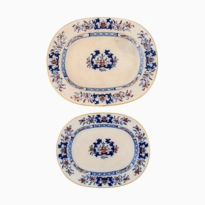 Antique Dishes in Hand-Painted Faience from Mintons, England, Set of 2