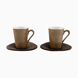Tasses à Café en Porcelaine avec Soucoupes par Kenji Fujita pour Tackett Associates, Set de 4