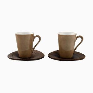 Tazzine da caffè in porcellana con piattini di Kenji Fujita per Tackett Associates, set di 4