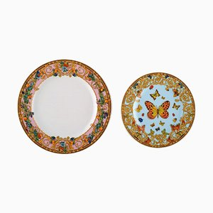Le Jardin Des Pappilons Plates by Gianni Versace for Rosenthal, Set of 2