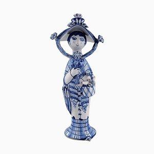 Ceramic Figure of Autumn in Blue Seasons by Bjørn Wiinblad