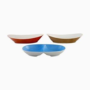 Bowls in Porcelain by Kenji Fujita for Tackett Associates, 1953-1956, Set of 3