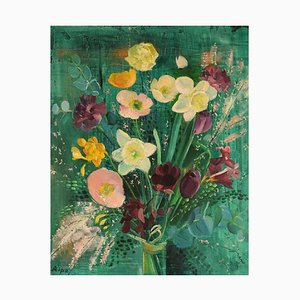 Swedish Oil on Canvas, Arrangement With Flowers, Hans Ripa