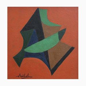 Geometrische Komposition auf orangefarbenem Hintergrund, Edgar Stoëbel, 1960er