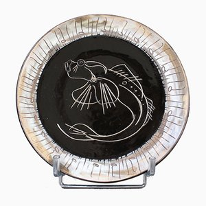 Mid-Century Ceramic Plate by Claude Vayssier for Atelier Cerenne, 1950s