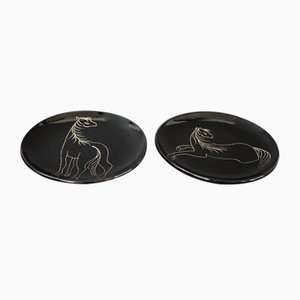 Mid-Century Ceramic Plates with Stylised Horses by Atelier Cerenne, 1950s, Set of 2