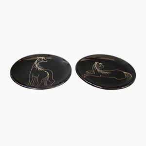 Mid-Century Keramikteller mit stilisierten Pferden von Atelier Cerenne, 1950er, 2er Set