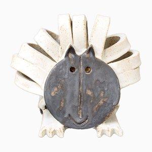 Scultura vintage a forma di leone in ceramica di Bruno Gambone, anni '90