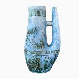 Blaue französische Zoomorphic Keramikvase von Jacques Blin, 1950er