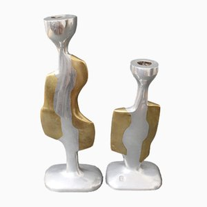 Kerzenständer aus Aluminium & Messing von David Marshall, 1980er, 2er Set
