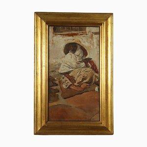 Lo scriba, Romualdo Locatelli, Olio su cartone, XX secolo