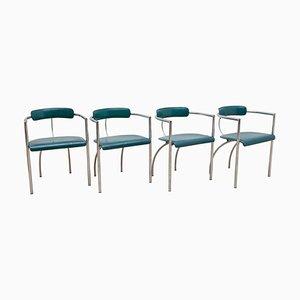 Arrben Esszimmerstühle aus Chrom & Leder, 1970er, 4er Set