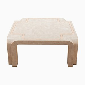 White Faux Marble Geometric Square Coffee Table, Italy, 1980s