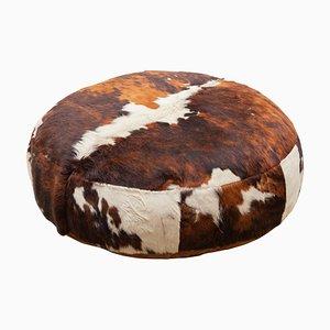 Puf otomana grande de cuero de vaca