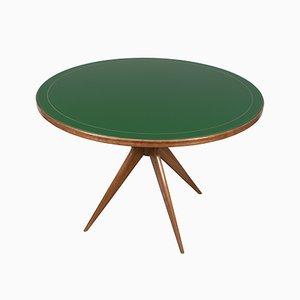 Tavolo rotondo in vetro verde, Italia, anni '50