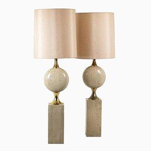 Lampes en Travertin par Philippe Barbier, 1970s, Set de 2