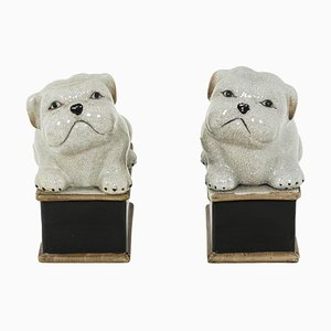 Small Dogs in Celadon Cracked Porcelain, 1950s, Set of 2