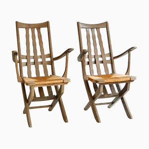 French Garden Oak Chairs, French by Le Corbusier, 1950s, Set of 2